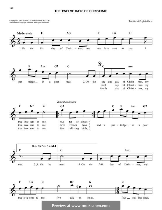 The Twelve Days of Christmas: Melodische Linie by folklore