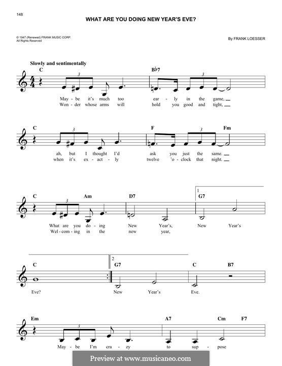 What are You Doing New Year's Eve?: Melodische Linie by Frank Loesser