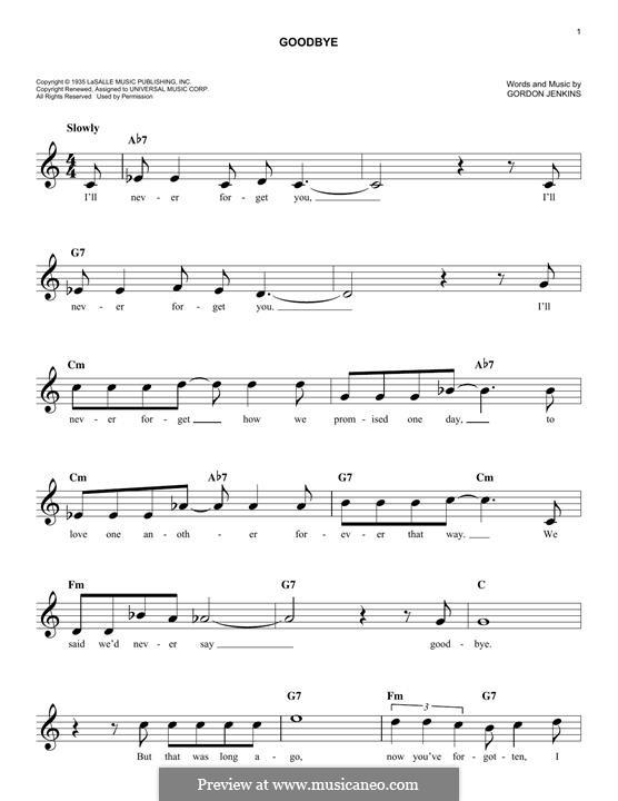 Goodbye (Bill Evans): Melodische Linie by Gordon Jenkins