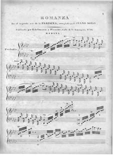 La Parisina. Romanza: Bearbeitung für Klavier by Tomás Giribaldi
