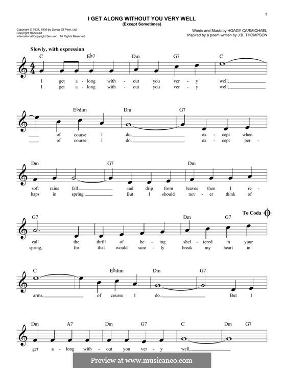 I Get Along Without You Very Well: Melodische Linie by Hoagy Carmichael