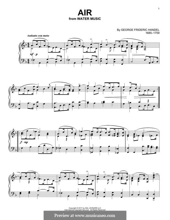 Suite Nr.1 in F-Dur, HWV 348: Aria, for piano by Georg Friedrich Händel