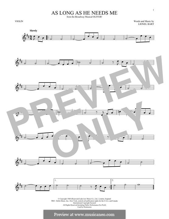 As Long as He Needs Me (from Oliver!): Für Violine by Lionel Bart