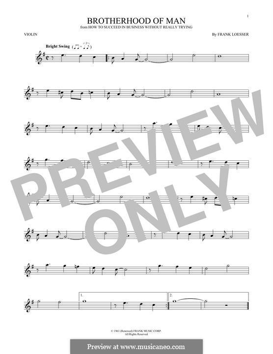 Brotherhood of Man: Für Violine by Frank Loesser