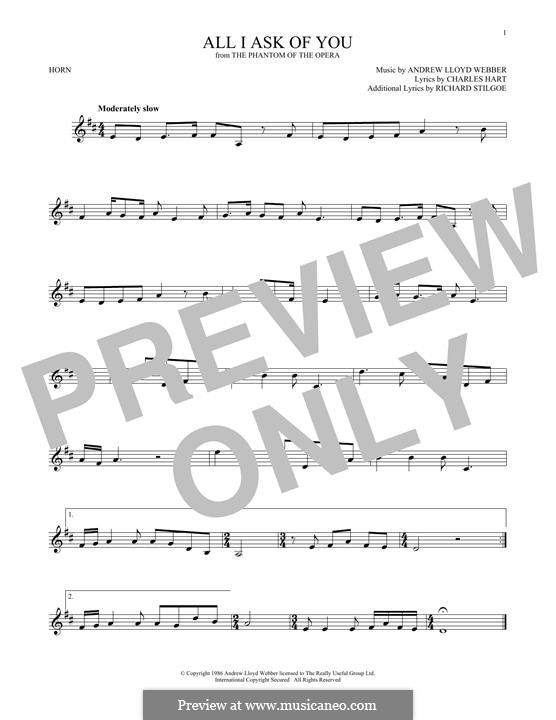 All I Ask of You: For horn by Andrew Lloyd Webber