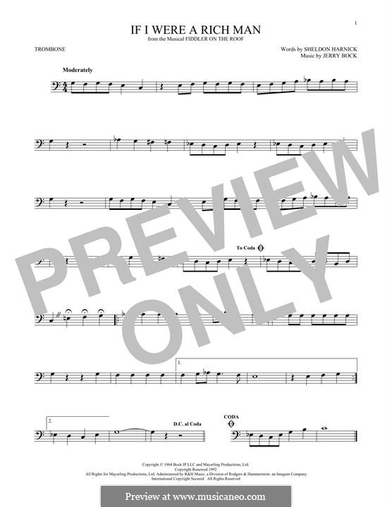 If I Were a Rich Man (from The Fiddler on the Roof): For trombone by Jerry Bock