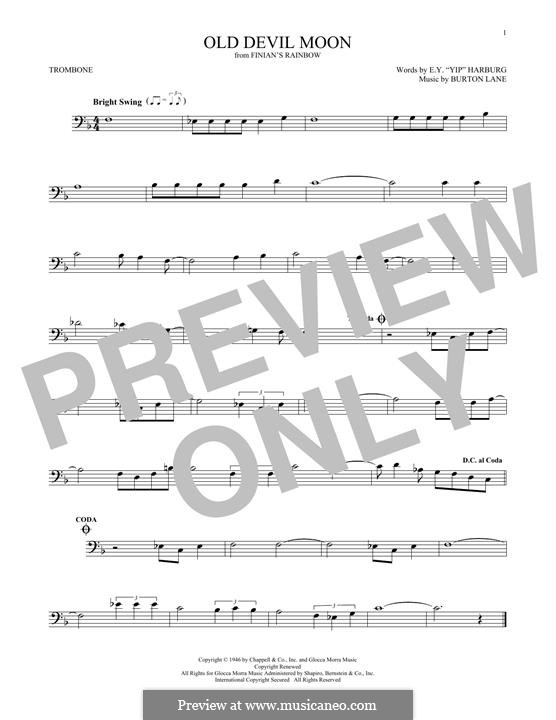 Old Devil Moon: For trombone by Burton Lane