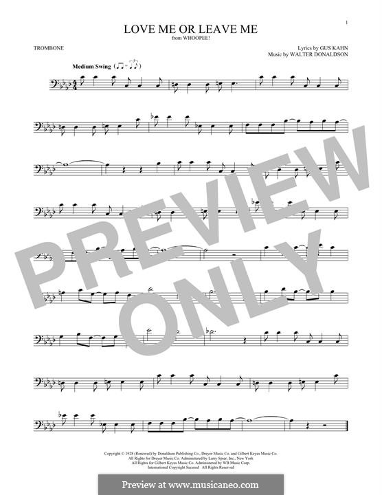 Love Me or Leave Me: For trombone by Walter Donaldson