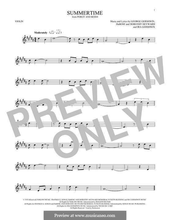 Summertime: Für Violine by George Gershwin