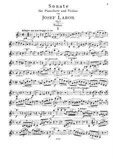 Sonate für Violine und Klavier, Op.5: Solostimme by Josef Labor