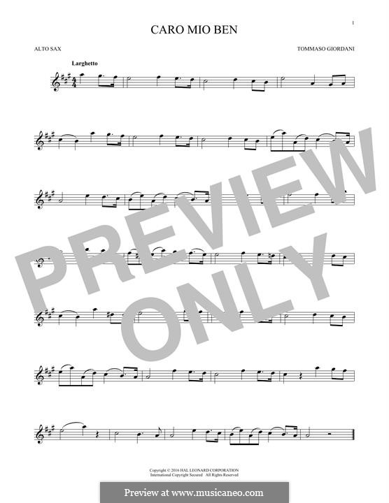Caro mio ben (O Maiden Dear): Für Altsaxophon by Tommaso Giordani