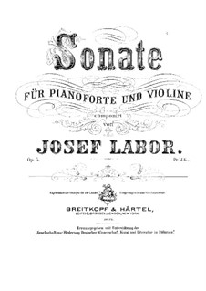 Sonate für Violine und Klavier, Op.5: Partitur by Josef Labor