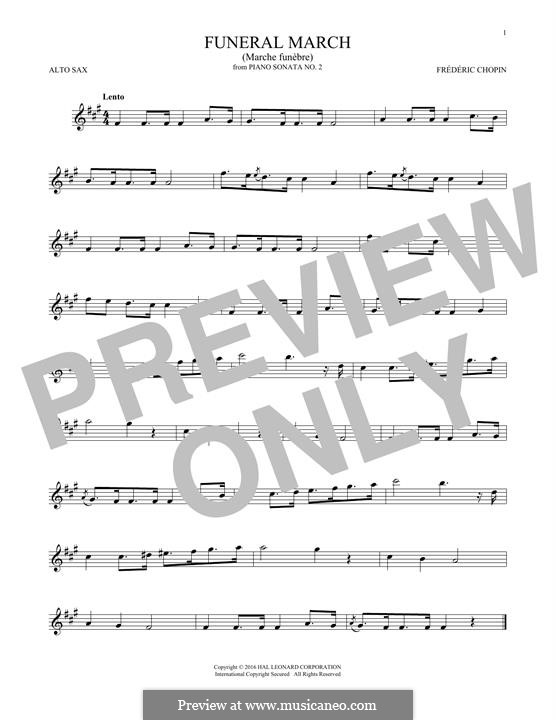 Sonate für Klavier Nr.2 in b-Moll, Op.35: Movement III (Theme), for alto saxophone by Frédéric Chopin