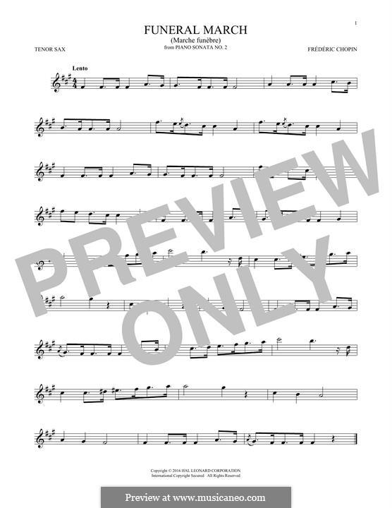 Sonate für Klavier Nr.2 in b-Moll, Op.35: Movement III (Theme), for tenor saxophone by Frédéric Chopin