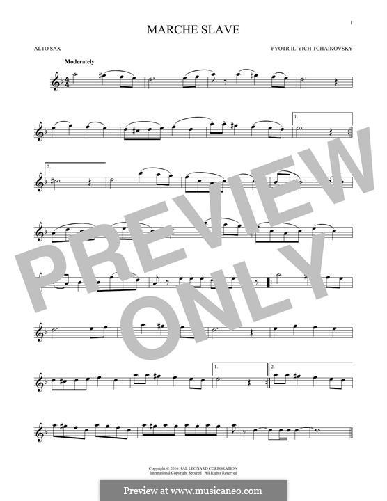 Slawischer Marsch, TH 45 Op.31: Arrangement for alto saxophone (Fragment) by Pjotr Tschaikowski
