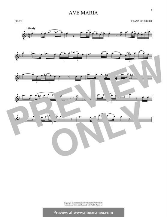 Ave Maria (Printable Scores), D.839 Op.52 No.6: Für Flöte by Franz Schubert