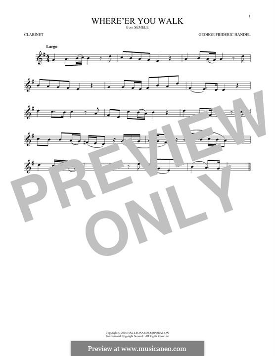 Semele, HWV 58: Where'er You Walk, for clarinet by Georg Friedrich Händel