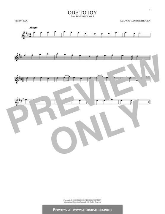 Ode an die Freude: Version for tenor saxophone by Ludwig van Beethoven