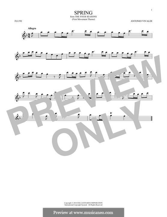 Violin Concerto No.1 in E Major 'La primavera' (Printable Scores): Movement I (Theme), for flute by Antonio Vivaldi