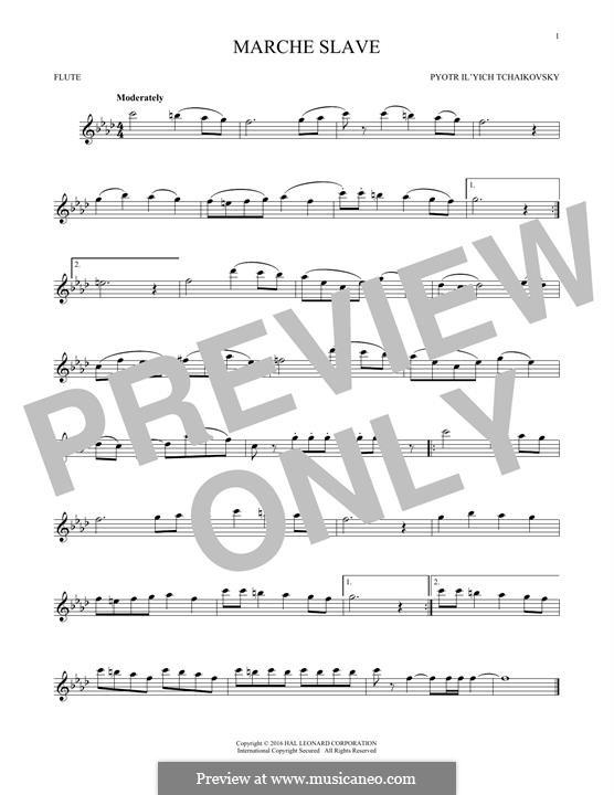 Slawischer Marsch, TH 45 Op.31: Arrangement for flute (Fragment) by Pjotr Tschaikowski