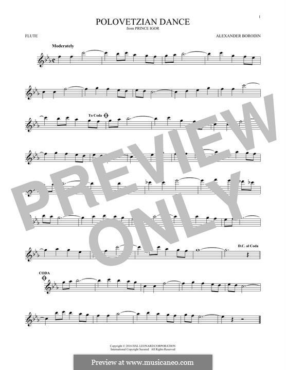 Die Polowetzer Tänze: Theme, for flute by Alexander Porfiryevich Borodin