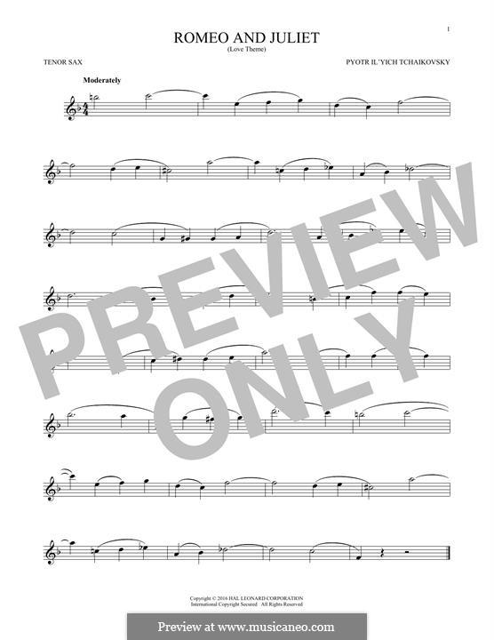 Love Theme: Arrangement for tenor saxophone by Pjotr Tschaikowski