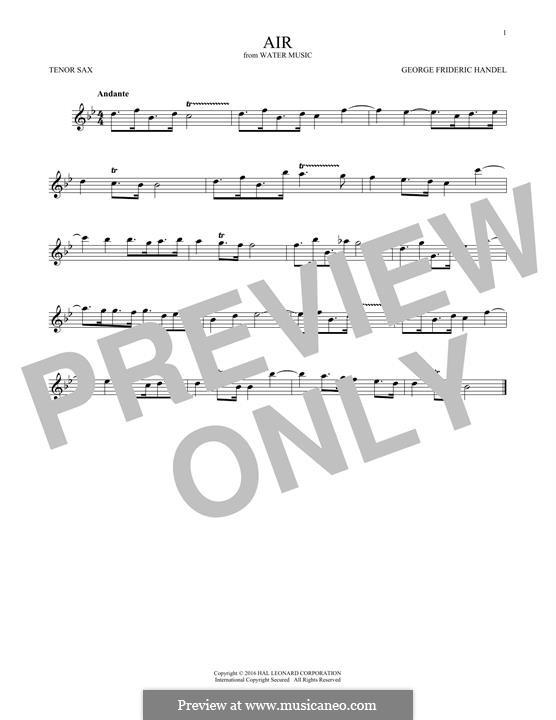 Suite Nr.1 in F-Dur, HWV 348: Aria, for tenor saxophone by Georg Friedrich Händel