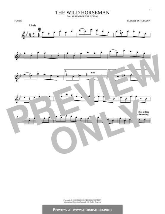 Nr.8 Wilder Reiter: Für Flöte by Robert Schumann