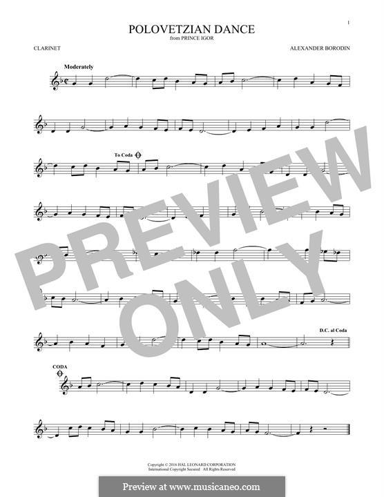 Die Polowetzer Tänze: Theme, for clarinet by Alexander Porfiryevich Borodin