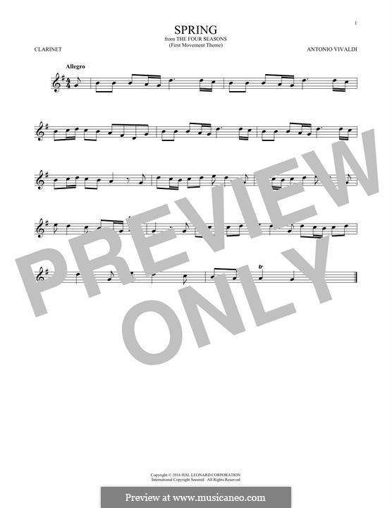 Violin Concerto No.1 in E Major 'La primavera' (Printable Scores): Movement I (Theme), for clarinet by Antonio Vivaldi