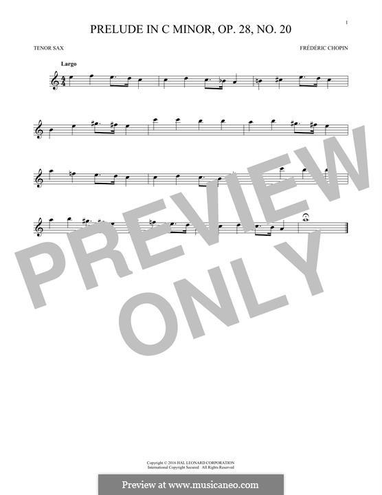 Nr.20 in c-Moll: Für Tenorsaxophon by Frédéric Chopin