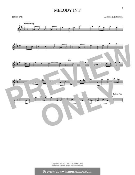 Zwei Melodien, Op.3: Melody No.1, for tenor saxophone by Anton Rubinstein