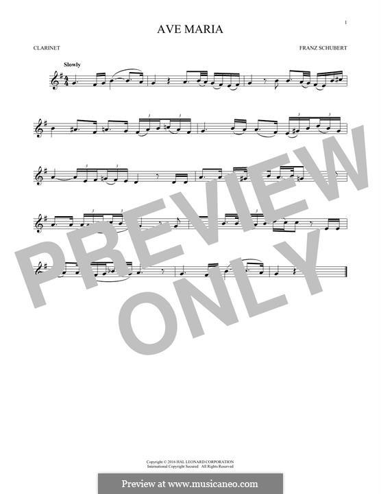 Ave Maria (Printable Scores), D.839 Op.52 No.6: Für Klarinette by Franz Schubert