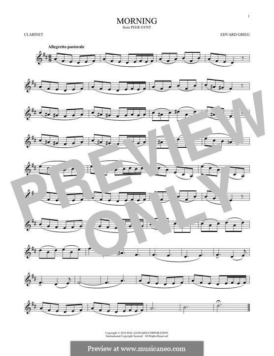 Suite Nr.1. Morgenstimmung, Op.46 No.1: Für Klarinette by Edvard Grieg