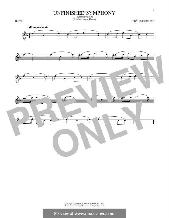 Sinfonie Nr.8 in h-Moll 'Unvollendete', D.759: Theme. Version for flute by Franz Schubert