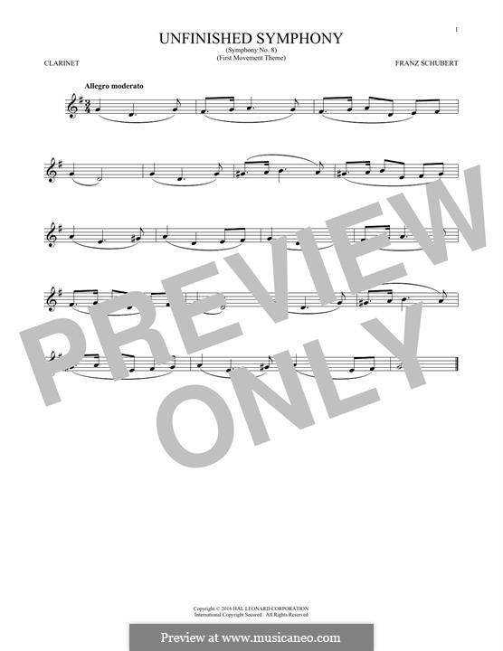 Sinfonie Nr.8 in h-Moll 'Unvollendete', D.759: Theme. Version for clarinet by Franz Schubert