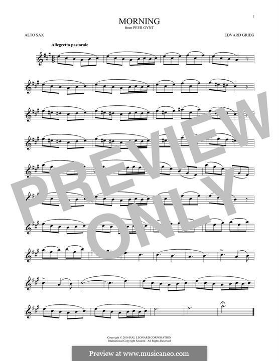 Suite Nr.1. Morgenstimmung, Op.46 No.1: Für Altsaxophon by Edvard Grieg