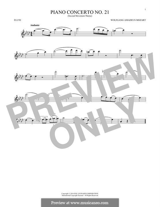 Konzert für Klavier und Orchester Nr.21 in C-Dur, K.467: Movement II (Excerpt). Version for flute by Wolfgang Amadeus Mozart