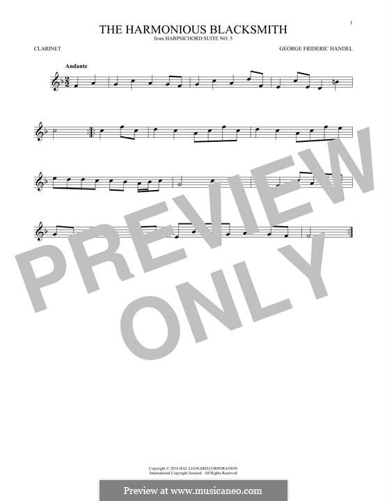 Suite Nr.5 in E-Dur, HWV 430: Theme, for clarinet by Georg Friedrich Händel