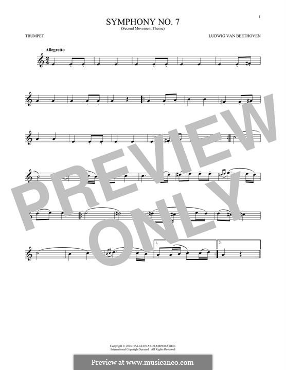 Teil II: Theme. Version for trumpet by Ludwig van Beethoven