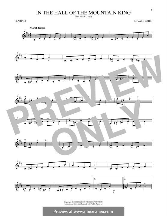 Suite Nr.1. In der Halle des Bergkönigs, Op.46 No.4: Für Klarinette by Edvard Grieg