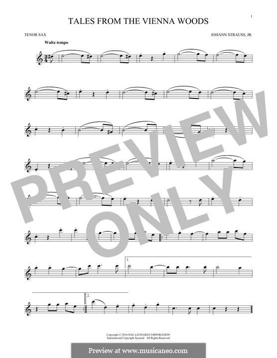 Geschichten aus dem Wienerwald, Op.325: For tenor saxophone (fragment) by Johann Strauss (Sohn)