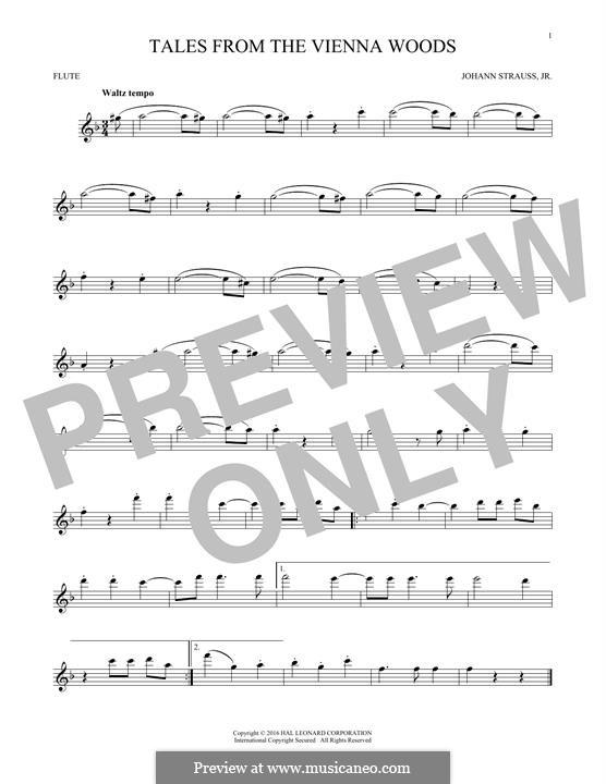 Geschichten aus dem Wienerwald, Op.325: For flute (fragment) by Johann Strauss (Sohn)
