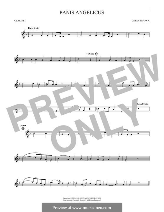 Panis Angelicus (O Lord Most Holy), Printable Scores: Für Klarinette by César Franck