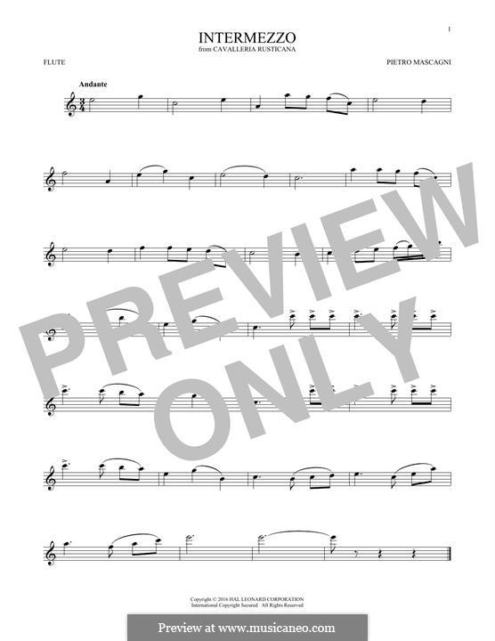 Cavaleria rusticana: Intermezzo, for flute by Pietro Mascagni