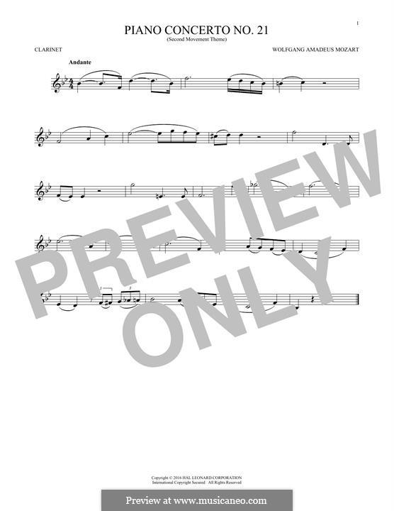 Konzert für Klavier und Orchester Nr.21 in C-Dur, K.467: Movement II (Excerpt). Version for clarinet by Wolfgang Amadeus Mozart
