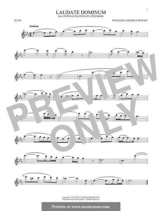Vesperae solennes de confessore, K.339: Laudate Dominum, for flute by Wolfgang Amadeus Mozart