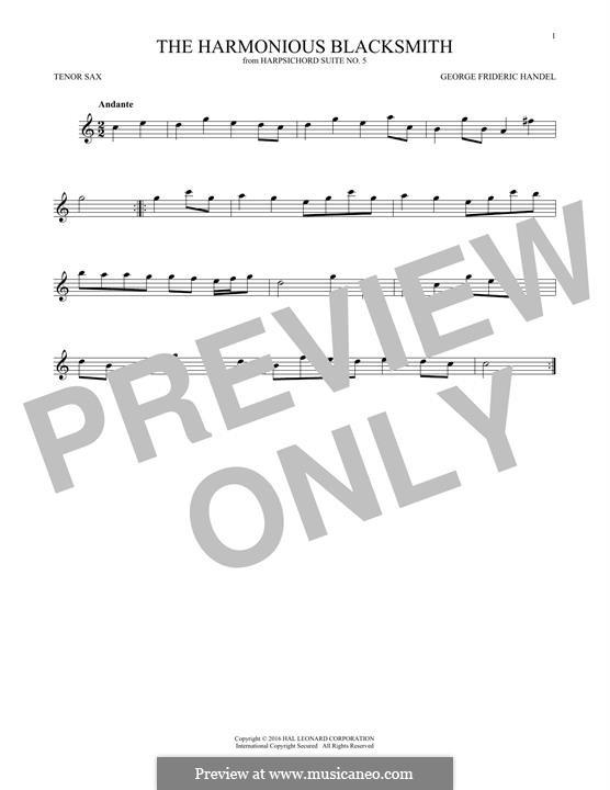 Suite Nr.5 in E-Dur, HWV 430: Theme, for tenor saxophone by Georg Friedrich Händel