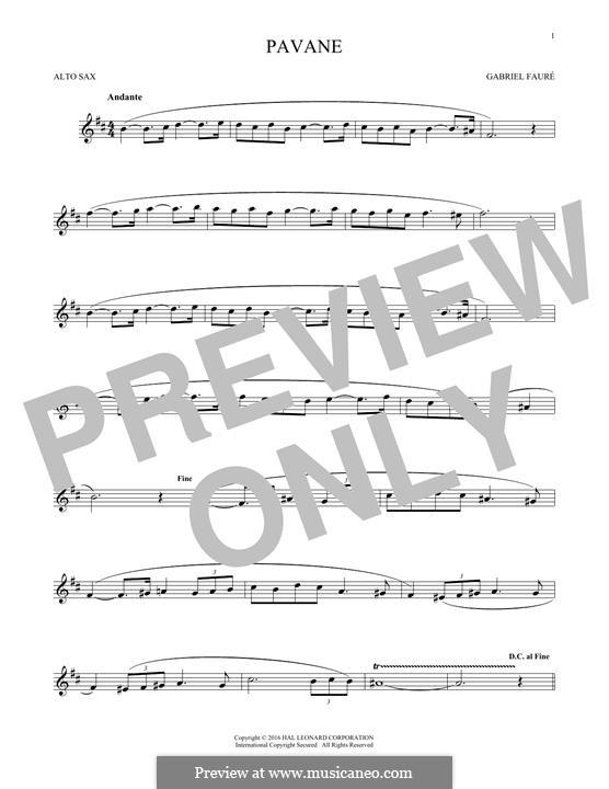 Pavane, Op.50: Theme, for alto saxophone by Gabriel Fauré