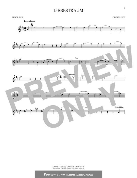 Nocturne Nr.3: Theme, for tenor saxophone by Franz Liszt